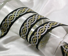 "1.1/8"" (28.5mm) Celtic Silver & Gold Jacquard Ribbon x 1 yard"