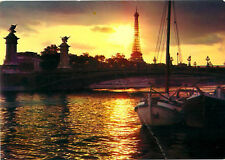 Paris France Effel Tower at Sunset Night View Ships River   Postcard  # 7792