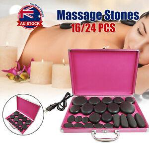16/24pcs Hot Massage Stone Basalt Stones Set Rock SPA Oiled Massage Box Kit A