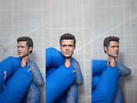 "Painted Service 1/12 Scale Fight Club Brad Pitt Head Sculpt Fit 6"" Figure ML"