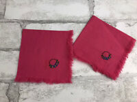 """2 Vintage Cotton Pink Handkerchiefs with Floral Embroidery Eyelash Fringe 9x9"""""""