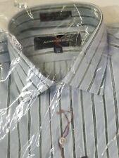 NEW ALEXANDER JULIAN MENS BUTTON UP DRESS SHIRT 15.5 34 BLUE
