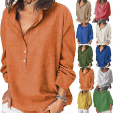 Womens Baggy Linen Long Sleeve V-neck T Shirt Tunic Tops Casual Blouse Plus Size