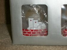 White cat on red bricks frosted plastic tumblers, 2 sets of 4