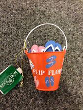Orange Bucket of Flip Flops Christmas Ornament by Kurt Adler