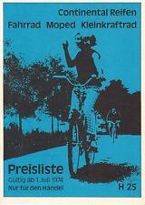 Continental Preisliste H25, Fahrrad, Moped, Kleinkraftrad, 1. Juli 1974 Handel V
