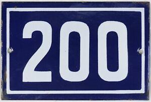 Old blue French house number 200 door gate plate plaque enamel steel metal sign