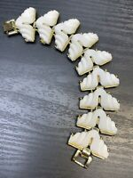 "Vintage Gold Tone Unusual White Thermoset Plastic 1960's Bracelet 7"" Sz Small"