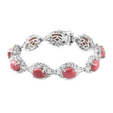 """Platinum Over 925 Sterling Silver Thulite Bracelet Jewelry Size 7.25"""" Ct 29.3"""
