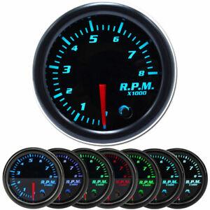 """Universal 2"""" 52mm 7 Color LED Car 0-8000 RPM Tachometer Tacho Gauge Meter 12V"""