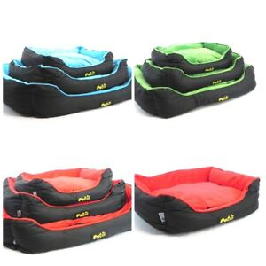 SOFT CANVAS DOG CAT PET BED WITH FLEECE TOP CUSHION IN VARIOUS SIZES S,M,L