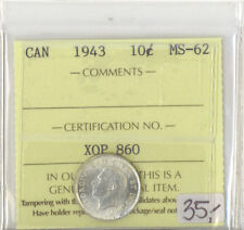 Canada 1943 Ten Cents ICCS Certified MS-62 XOP 860 ICCS Slip Error Coin is 1942