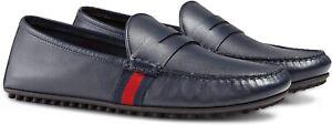 NIB Gucci Kanye Blue Leather Web Striped Trim Penny Drivers Size 11.5EU/12.5US