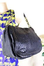 LANVIN Ash Grey Almost Black Pebbled Leather Chain Strap Hobo Shoulder Bag