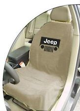 ONE BRAND NEW Jeep Tan Seat Towel Cover With Jeep Wrangler Grille Logo