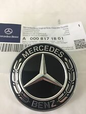 Genuine Mercedes-Benz Black Wreath Flat Bonnet Badge Emblem A0008171801 NEW