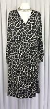 Glamorosa Size 24 Midi Dress Black White Stretch Faux Wrap Patterned