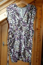 George Dress, Perfectly Petite Size 12, Purple, Beige and Black, Short Sleeve.