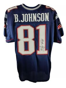 Bentley Johnson New England Patriots #81 Signed Reebok On Field Jersey Size 50