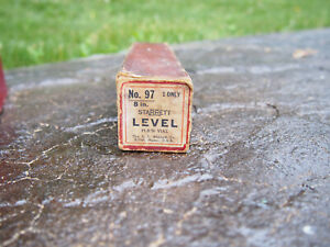 "Vintage L.S.Starrett 8"" Precision Level Plain Vial Machinist Tool #97 w/ Box"