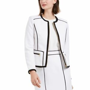 CALVIN KLEIN NEW Women's Petite Contrast Piping Zip-up Blazer Jacket Top TEDO
