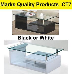 Coffee Table White Black Modern Style Glass Top Polyurethane Finish CT7