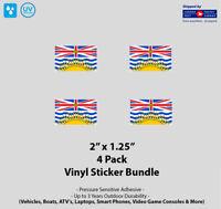 "4- Pack 2"" x 1.25"" British Columbia Flag Vinyl Stickers"