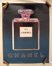 Andy Warhol Chanel No 5 French Perfume Pop Art Vintage Poster 1997 22x28 Blue