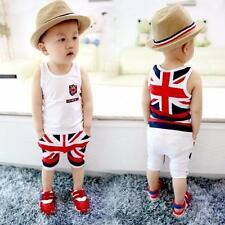 Kid Baby Boy Fashion Cotton Soft Union Jack Outfits Vest Tops Pants Set Cloth K