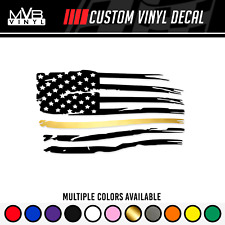 Distressed American Flag Gold Stripe Vinyl Decal Sticker Dispatchers First