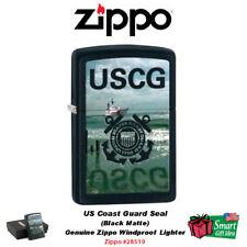 Zippo US Coast Guard Lighter, USCG Seal, Black Matte, Windproof #28519