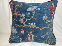 Kravet Chenille Throw pillow cover chinoiserie asian design blue red colors ONE