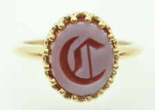 """14K Gold Carved Genuine Natural Agate Ring with Initial """"C"""" (#J2816)"""