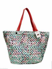 Fossil Key Per Tote Shopper Shoulder Handbag Seafoam Multicolor Top Zip New! NWT