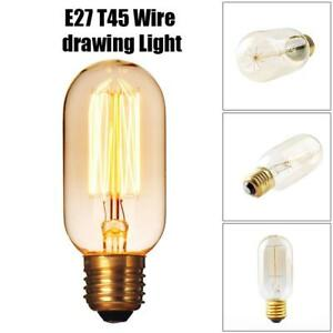 Vintage Lamp Bulbs Industrial Antique T45 60W Squirrel Dimmable Filament  E27