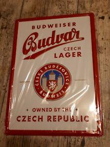 Blechschild Bier Werbung Budweiser  20x30 cm