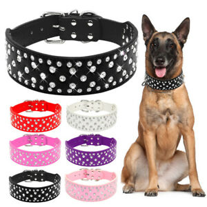 Bling Rhinestone PU Leather Dog Collar 2'' Wide for Medium Large Dogs Rottweiler