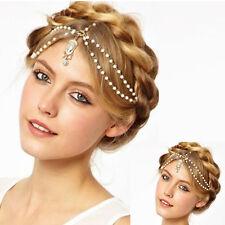 Women Fashion Metal Rhinestone Pearl Head Chain Jewelry Headband Head Piece Gift