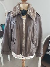 veste femme imitation cuir col fourrure