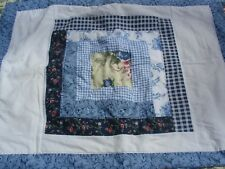 Vintage Hand Stitched Blue Yellow Floral Check Patchwork Standard Pillow Sham B