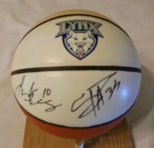 Minnesota Lynx Autographed Mini Basketball Seimone Augustus & Lindsey Harding