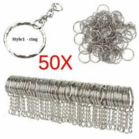 Silver Plated Metal Blank Keyring Split Ring Holder Rings Key Chains Accessories