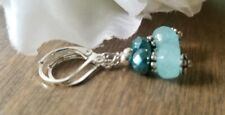 Amazonite earrings, silvertone Dangle, Stacked Beads, Teal, leverback