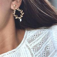 Women Personality Pearl Hollow Leaf Flower Dangle Drop Ear Stud Fashion Earrings