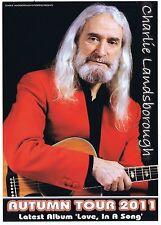 Charlie Lansborough   Autumn Concert Tour 2011   Playbill  Concert  Flyer  RARE