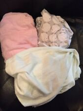 Lot of 3 Baby Changing Table Covers. Grey with Sheep, Pink Muslin, Green Halo