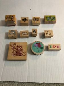 Lot Of 11 Wooden Stamps Mixture Holidays Animals