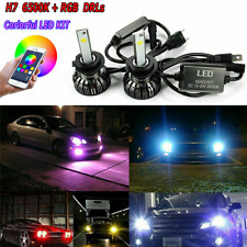 2x  H7 DC10V-30V RGB LED Headlight High Low Dual Beam APP Control Color Changing