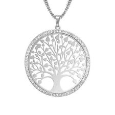 Fine Jewelry Cyrstal Silver Lucky tree Pendant Chain Sweater Necklace