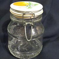 VTG Clear Storage Jar Container Orange Fruit Ceramic Lid Wire Bail Swing Top